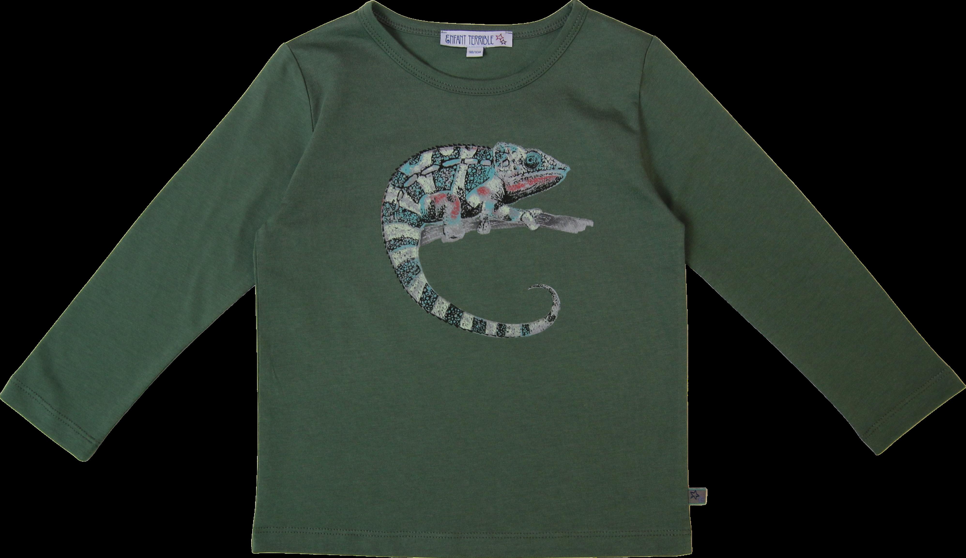 Kinder-Langarmshirt mit Chamäleon waldgrün