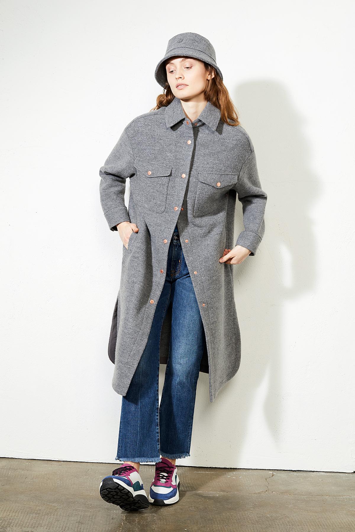 Damen-Hemdjacke aus Wolle Telford Long basalt