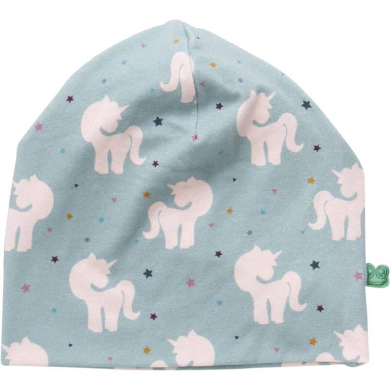 Mintgrüne Beanie-Mütze mit Einhörnern