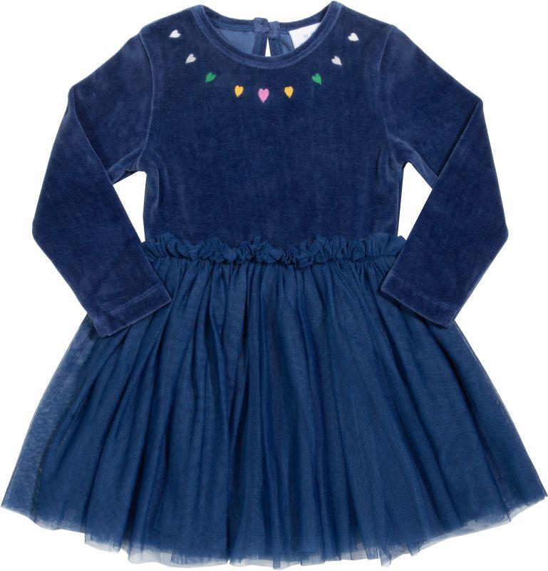 Dunkelblaues Samt-Kleidchen mit Tüll