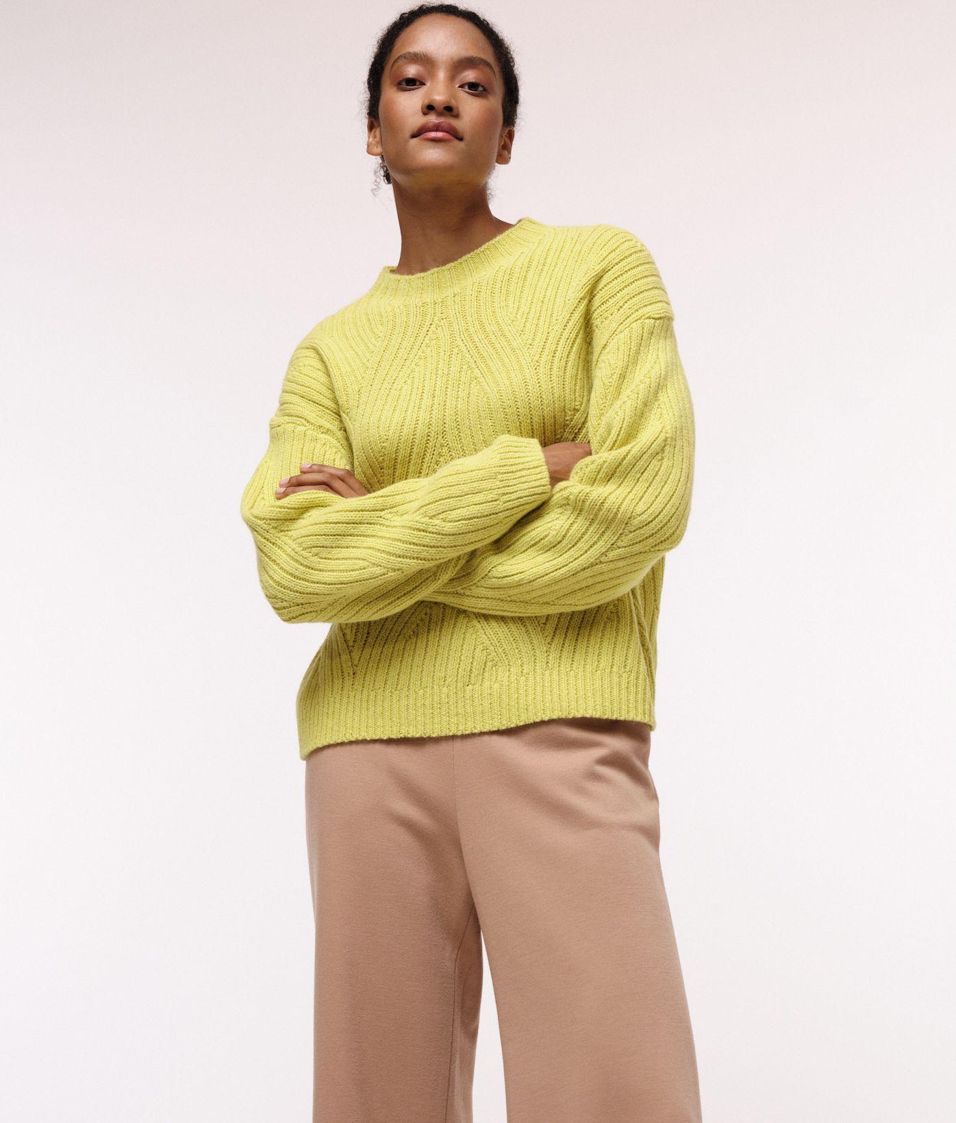 Damen-Pullover mit Rippenzopfmuster neon yellow