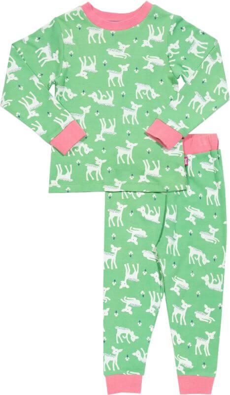 Grüner Mädchen-Schlafanzug mit Reh-Print