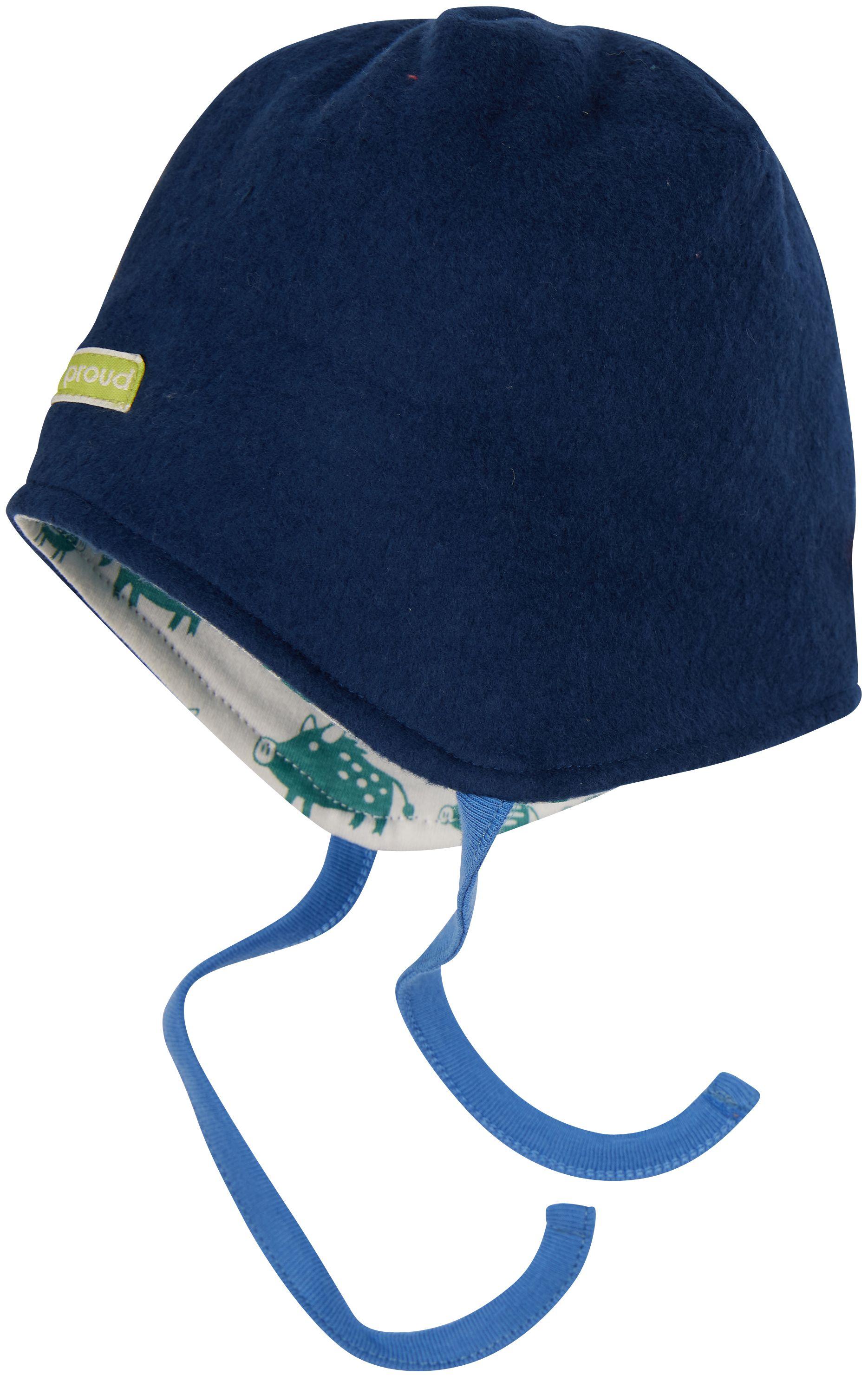 Weiche Fleece-Wende-Mütze für Kinder Ultramarin