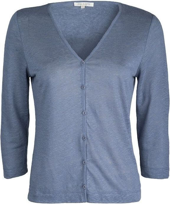 Leichte Damen-Strickjacke bleu (100% Leinen)