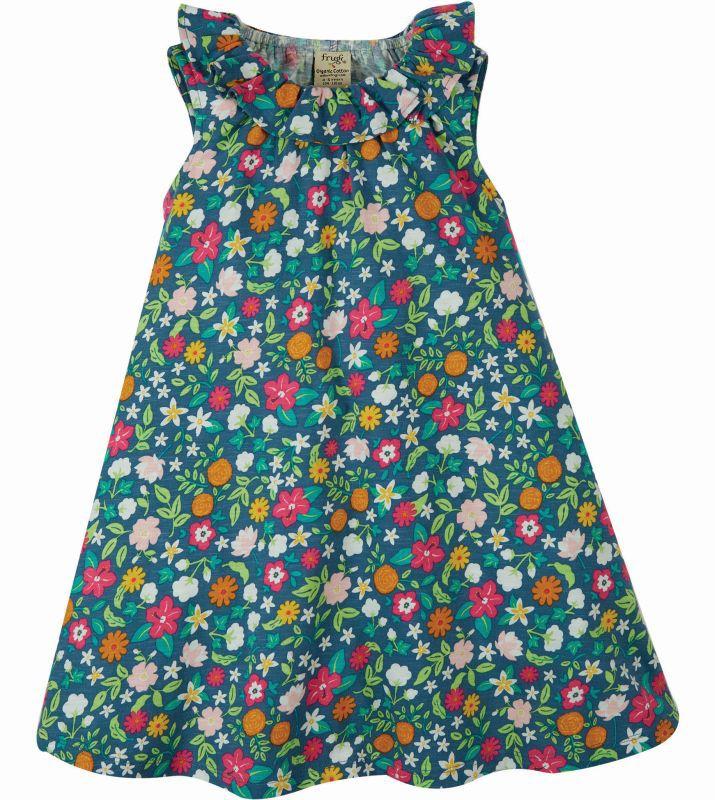 Bunt geblümtes Kurzarm-Kleid