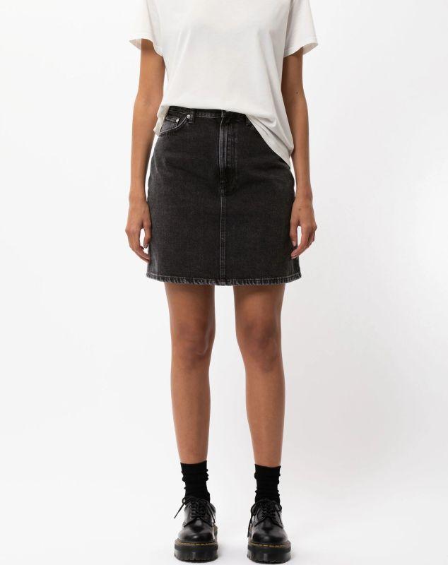 Knielanger Jeans-Rock Hanna Black Trace Denim