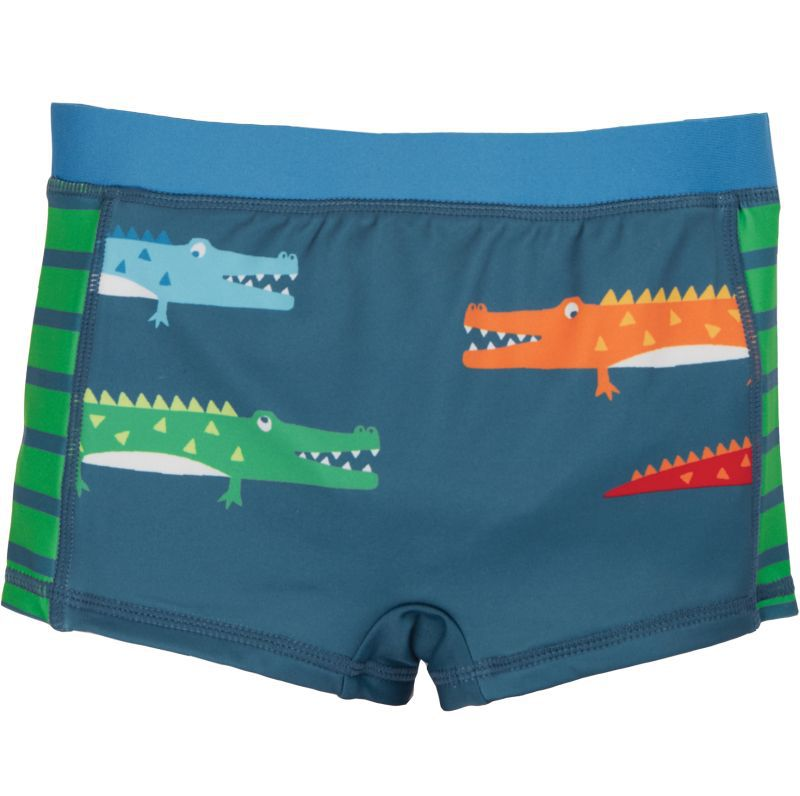 Dunkelblaue Bade-Shorts mit Krokodilen