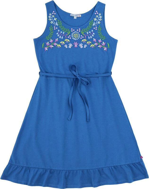 Blaues Jersey-Kleid für Damen mit Stickerei