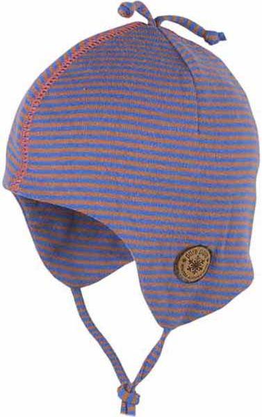 Blau geringelte Baby-Mütze mit Bändern