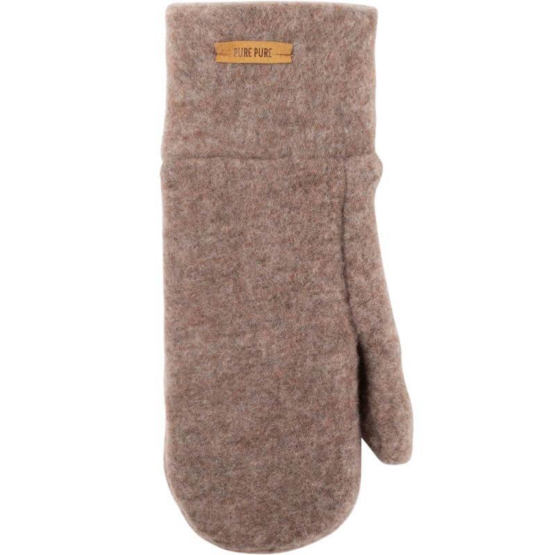 Warme Fleece-Fäustel in Hellbraun (100% Wolle)