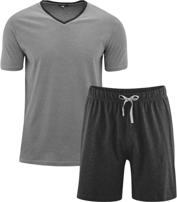 Kurzer Herren-Schlafanzug in stone grey/anthra melange