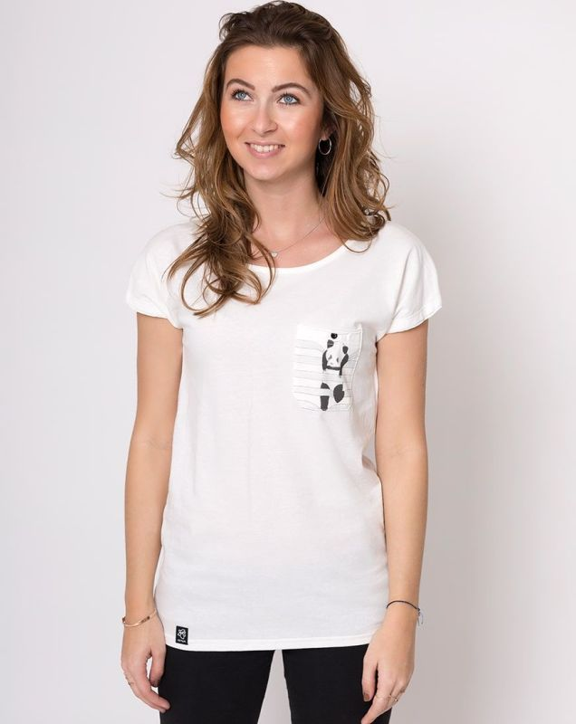Weiches Damen-Shirt Lea Panda in Weiß