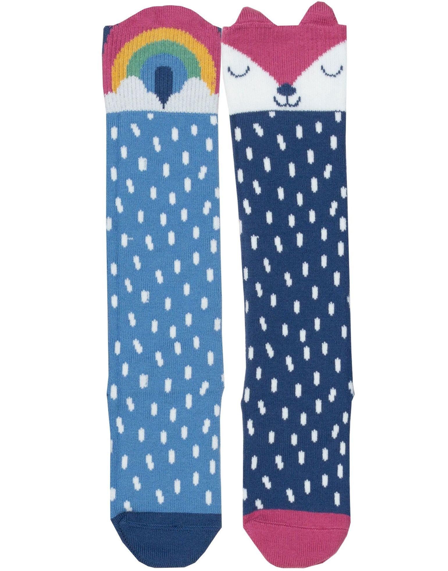 Getupfte Kinder-Kniestrümpfe im Doppelpack mit Fuchs und Regenbogen