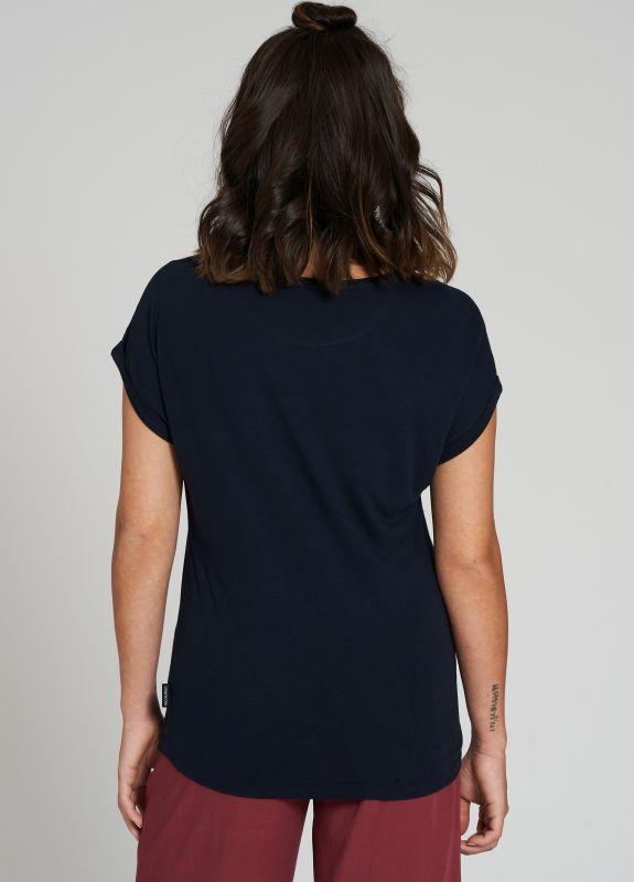 Seidiges Damen-Shirt TURN UP dark navy