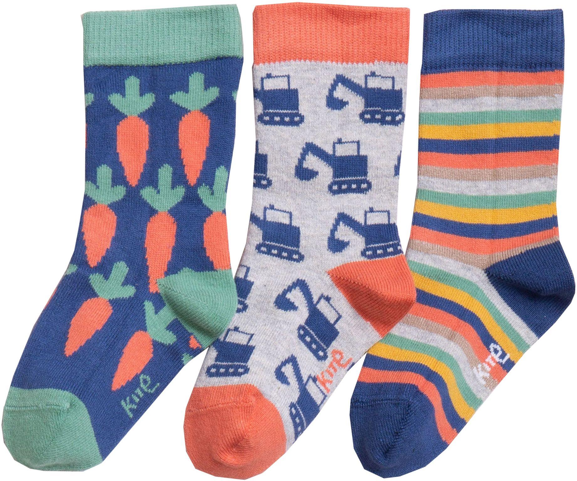 Gemusterte Kinder-Socken im 3er-Pack mit Baggern