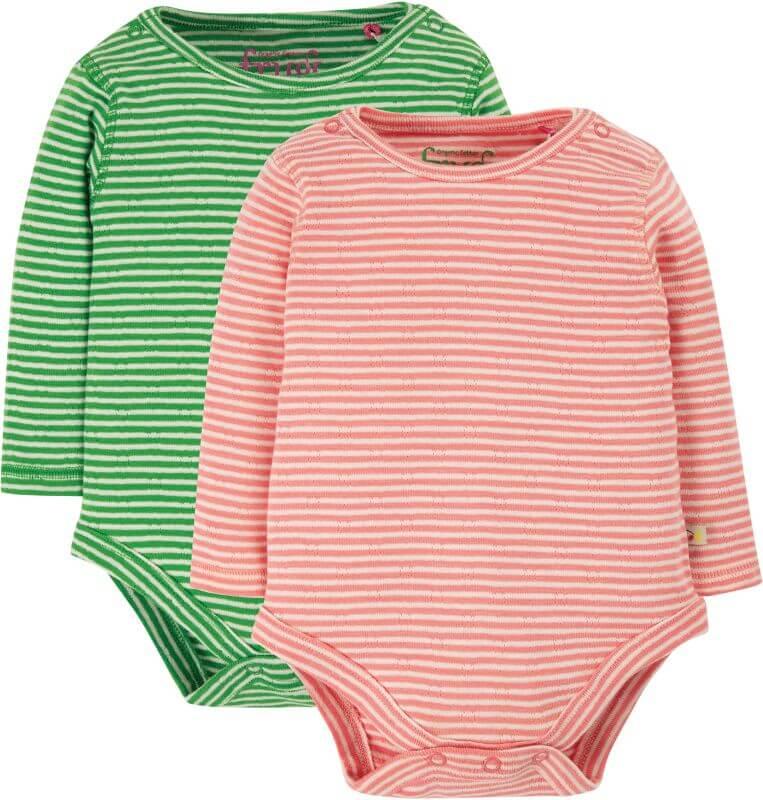Gestreifte Bodies im Doppelpack rosa/grün