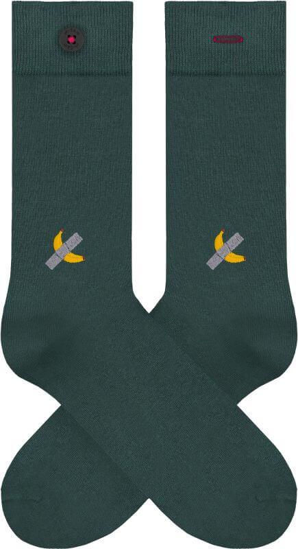 Dunkelgrüne Socken mit Bananen-Stickerei