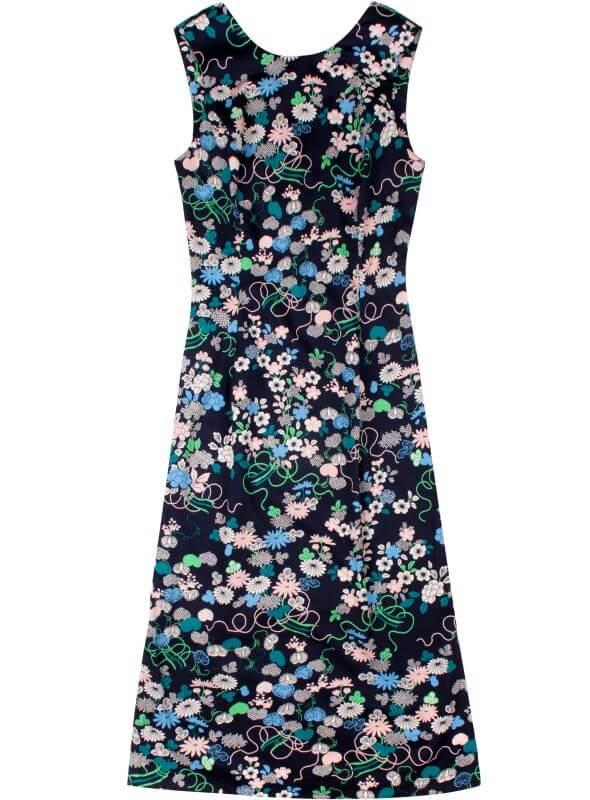 Geblümtes Damen-Kleid in Dunkelblau
