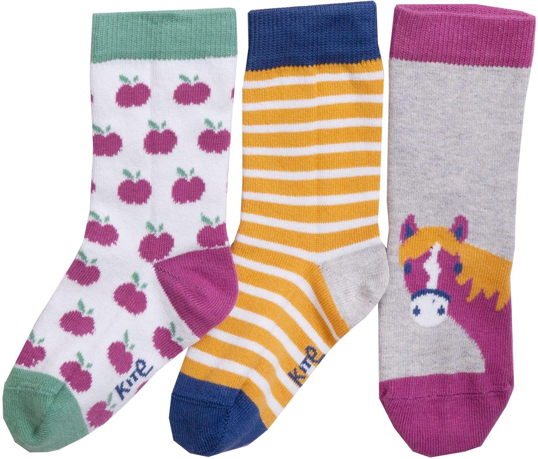 Gemusterte Kinder-Socken im 3er-Pack mit Pferd-Motiv