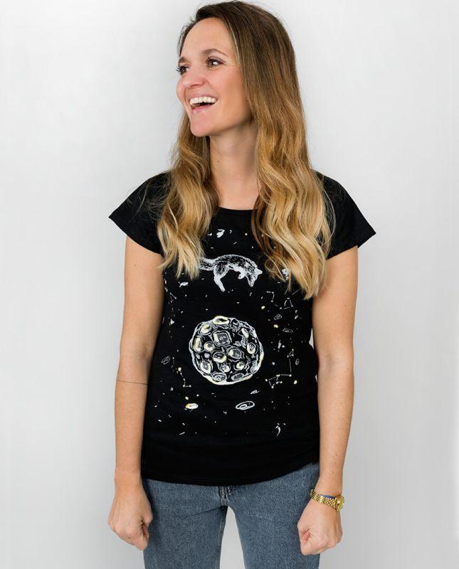 Schwarzes Damen-Shirt Lea Fuchs und Mond