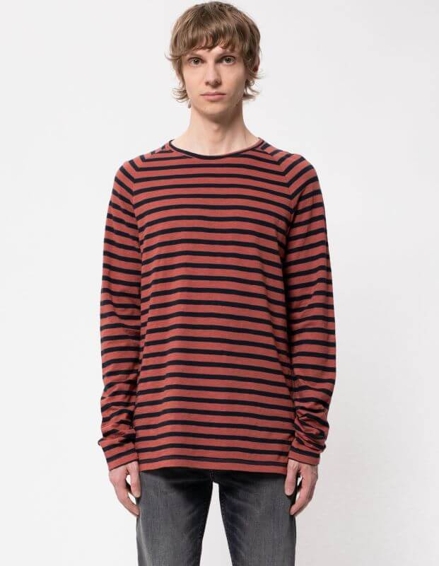 Herren-Longsleeve Otto Breton Stripe brick red