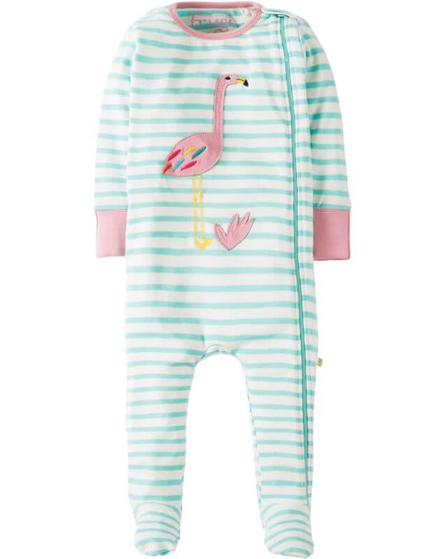 Einteiliger Schlafanzug mit Flamingo und Streifen
