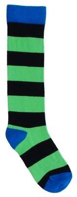 Jungs-Kniestrümpfe grün-schwarz geringelt