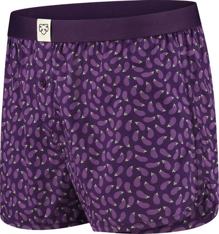 Bequeme Boxer-Shorts mit Auberginen in Lila
