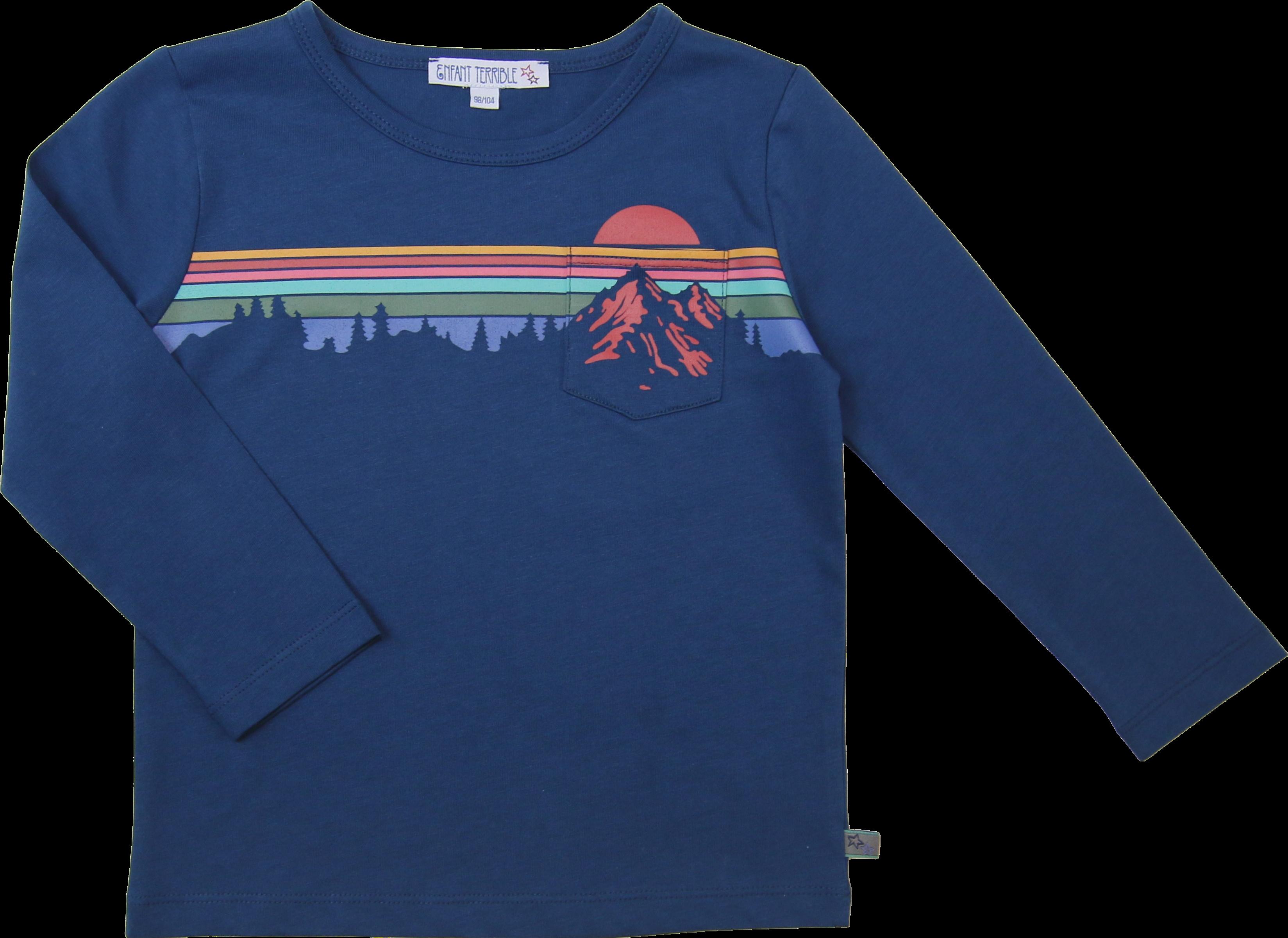 Kinder-Langarmshirt mit Gebirgedruck tintenblau