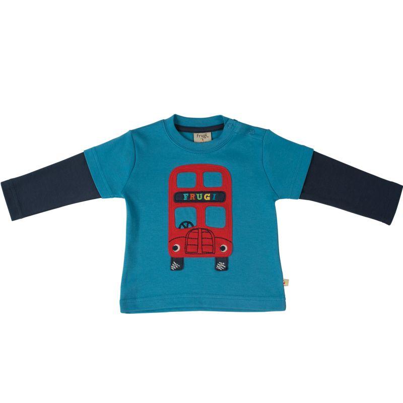 Blaues Baby-Longsleeve mit rotem Bus