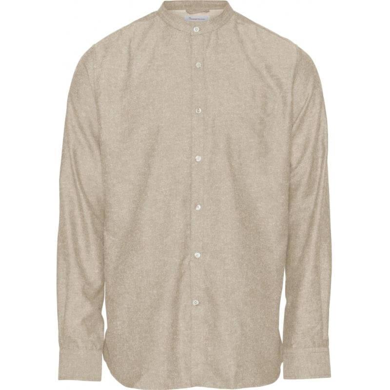 Herren-Hemd mit Leinen light feather gray