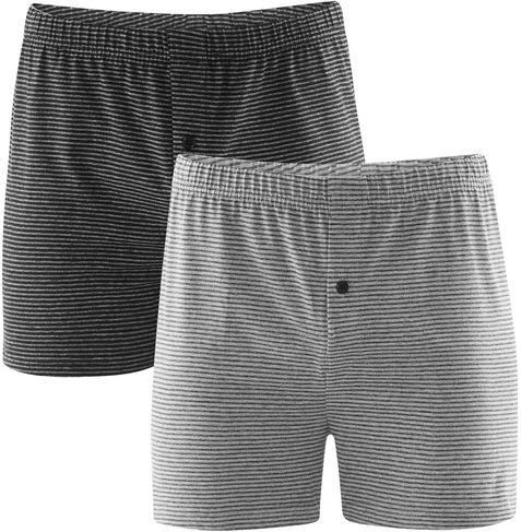 Grau gestreifte Boxer-Shorts im Doppelpack
