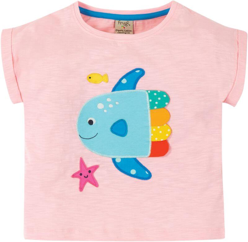Rosafarbenes Kurzarm-Shirt mit Fisch