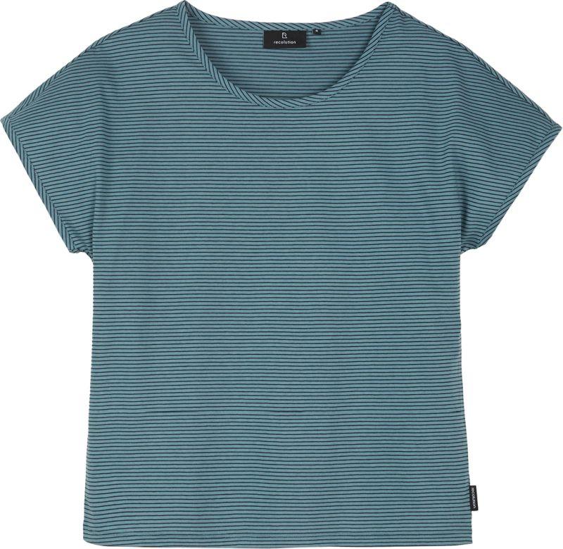 Gestreiftes Damen-Shirt MUSELLA lake green / navy