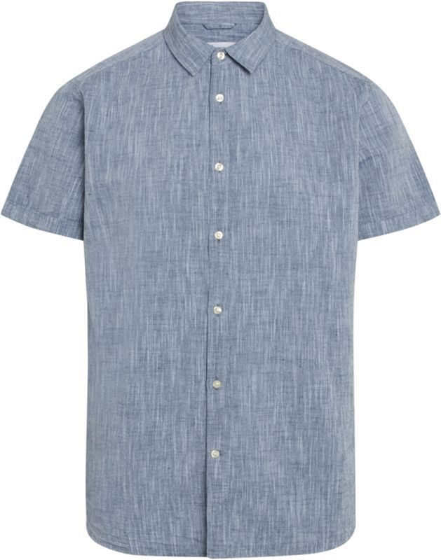 Blaues Kurzarm-Hemd LARCH mit Leinen