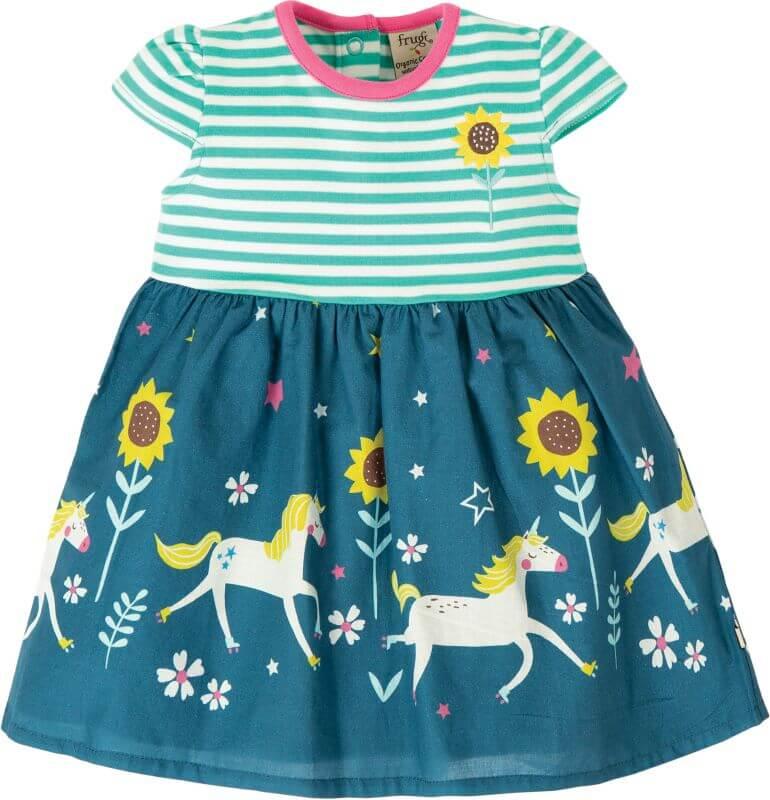 Süßes Kurzarm-Kleidchen mit Einhörnern