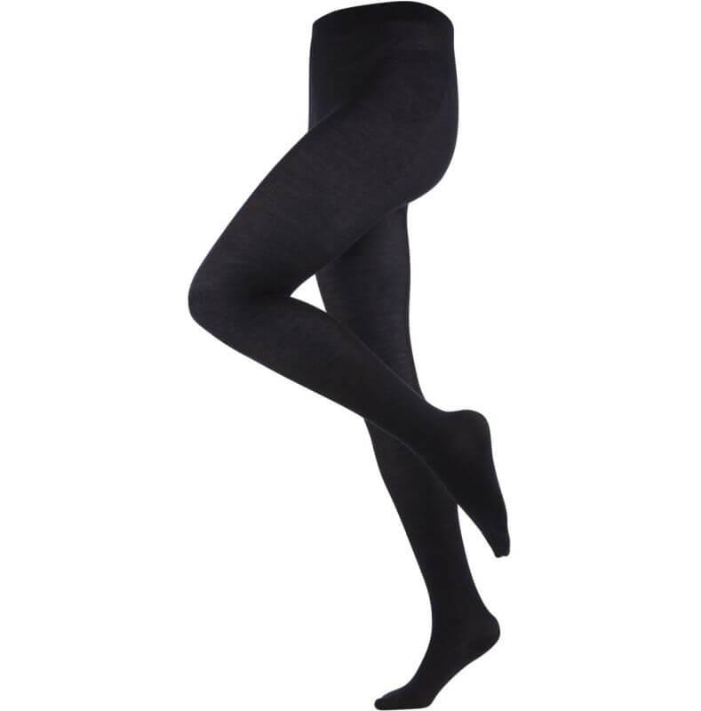 Schwarze Damen-Strumpfhose mit Wolle