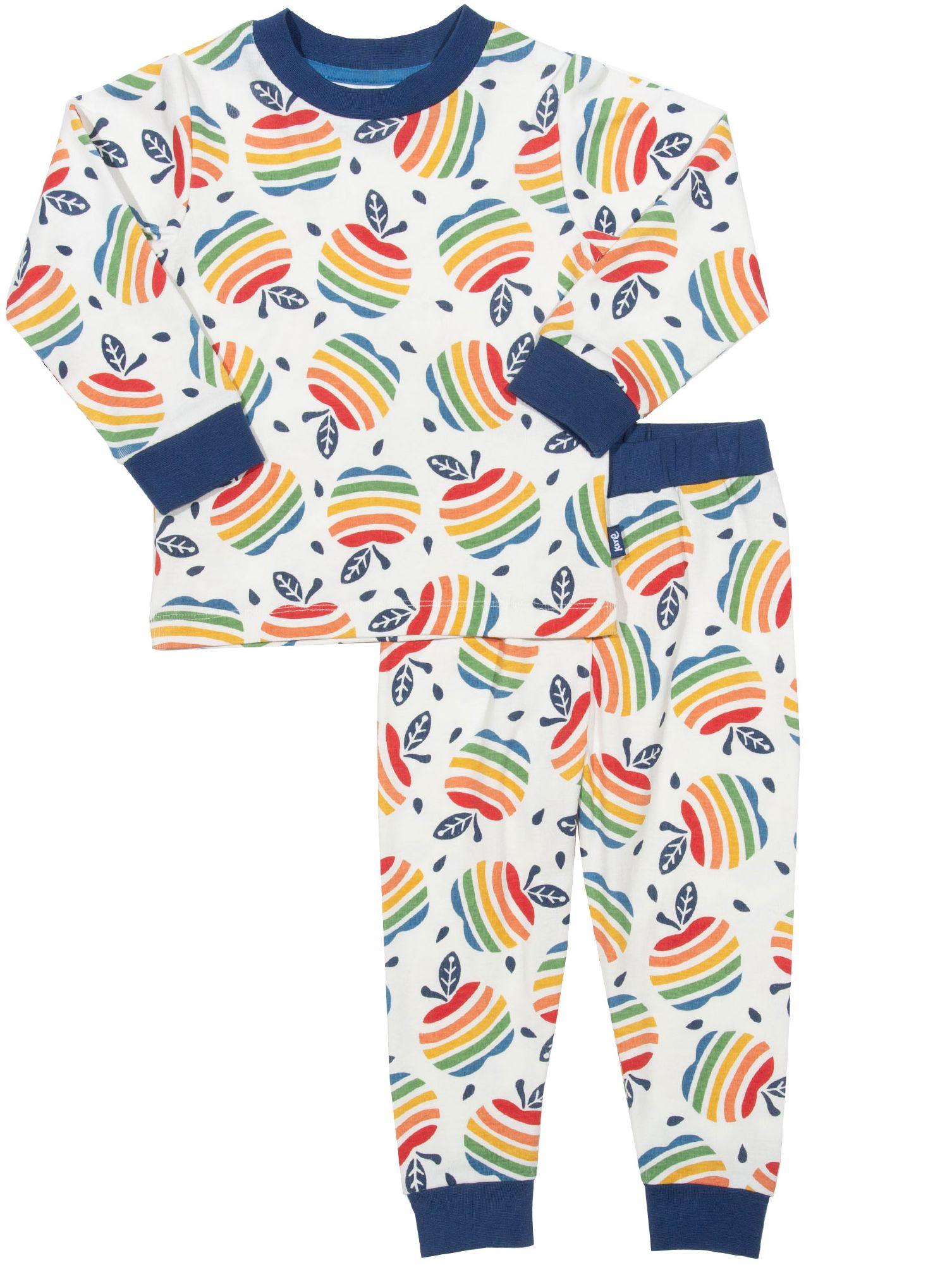 Zweiteiliger Schlafanzug für Kinder mit buntem Apfel-Muster