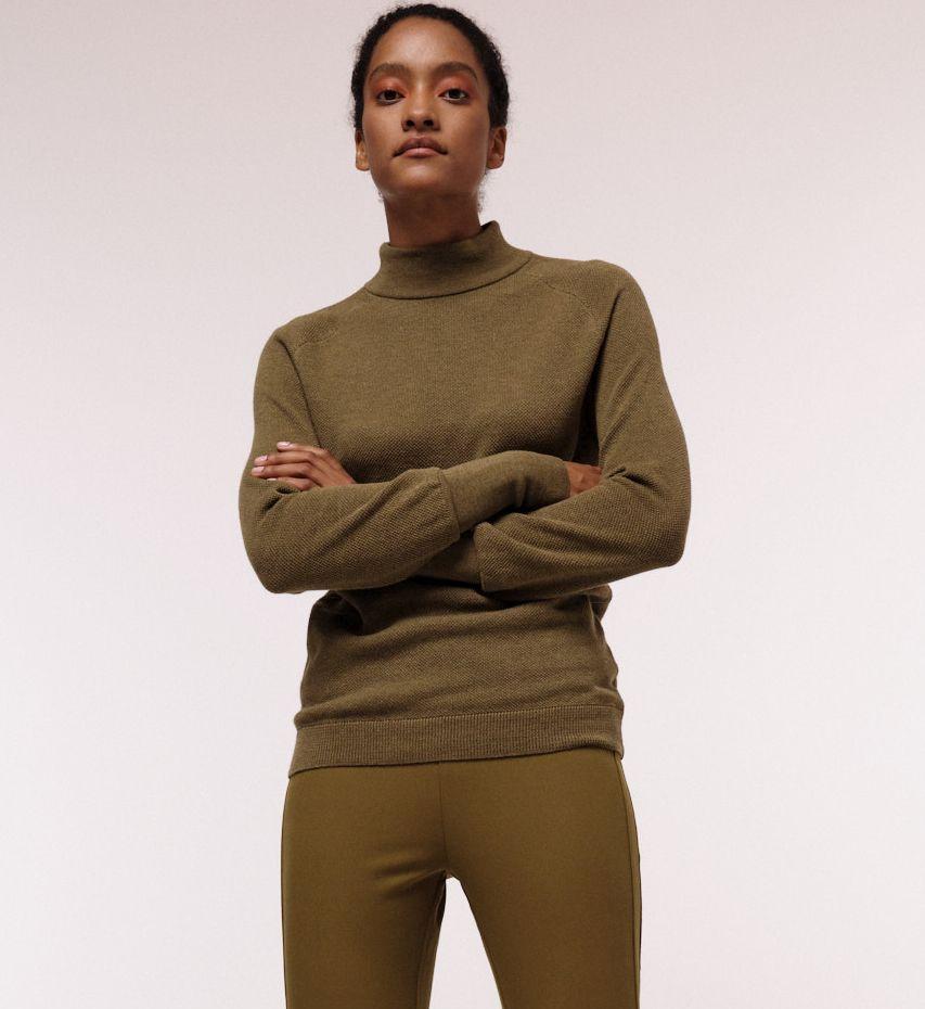 Feiner Rollkragenpullover für Damen green moss melange