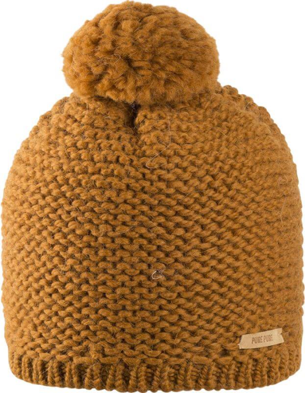 Weiche Bommel-Mütze in Ocker