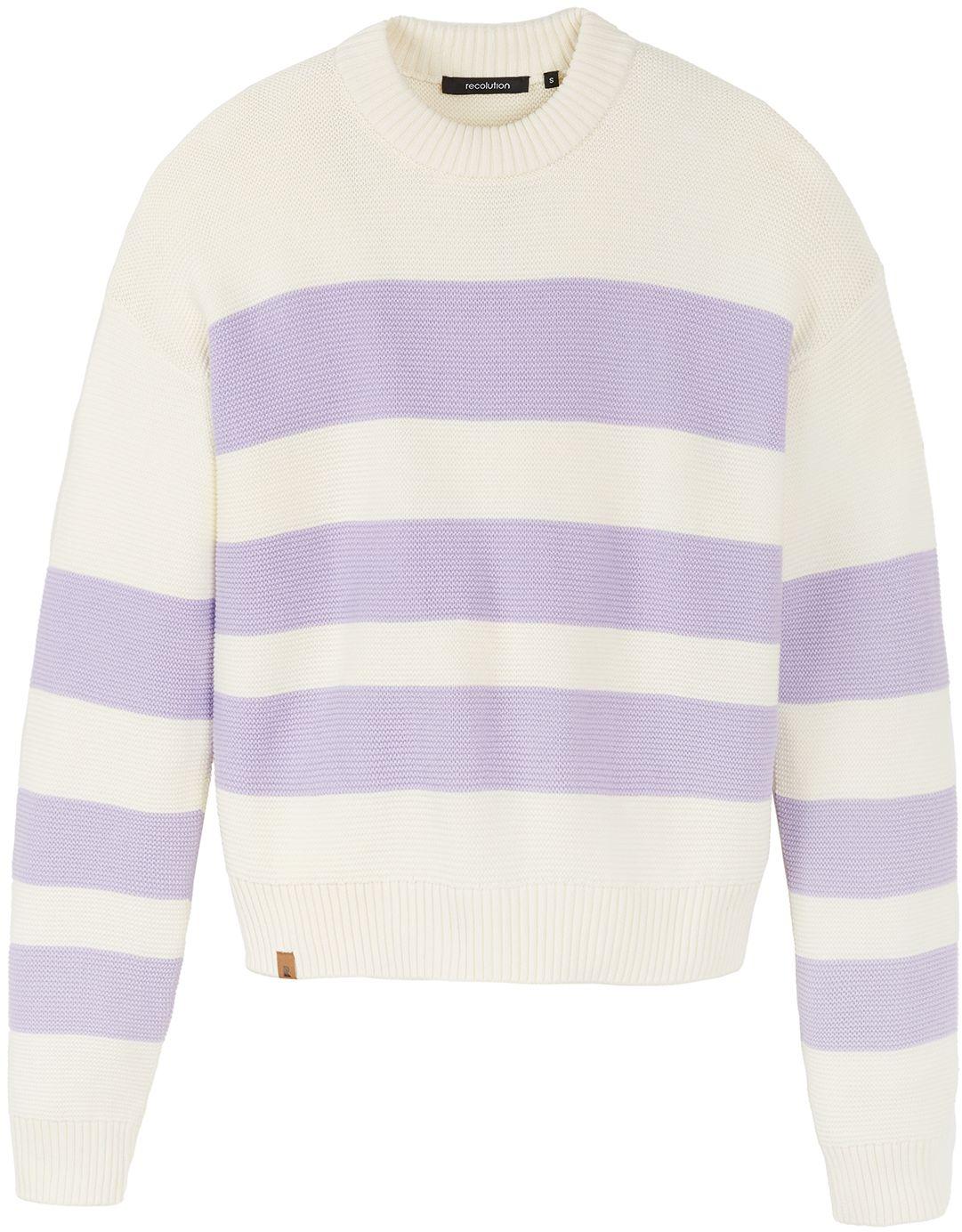 Damen-Strickpullover LILAC creme/ lilac