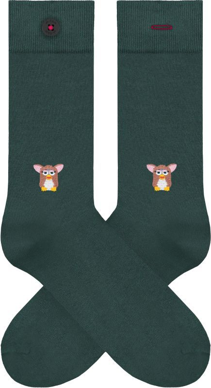 Grüne Socken mit Furby-Stickerei