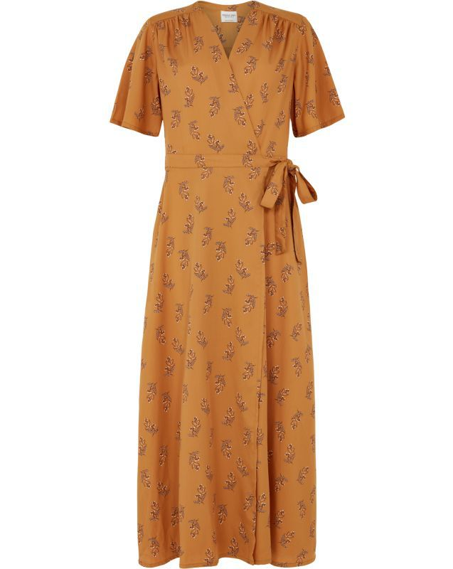 Seidiges Wickelkleid mit Blumenmuster Caroline almond