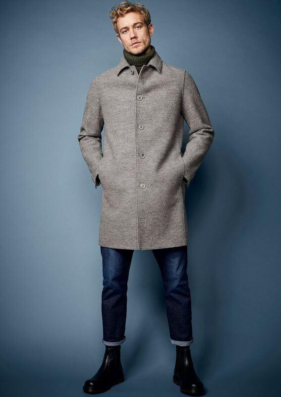 Modischer Herren-Mantel Collbran mit Wolle basalt