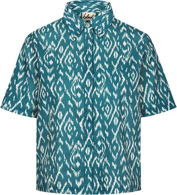 Frauen-Kurzarmhemd Ikatty mit Linen in Blau