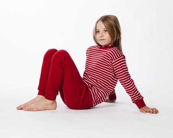 Zweiteiliger Schlafanzug rot/weiß gestreift