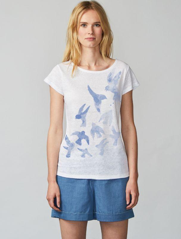 Kurzes Leinen-Shirt Aqua Birds in Linen White
