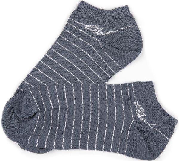 Grau-weiß geringelte Sneaker-Socken