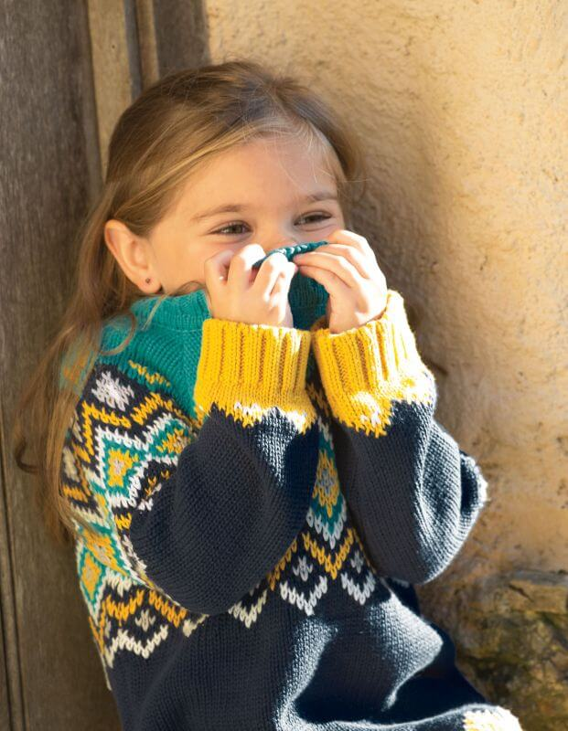 Blau-gelb gemusterter Kinder-Strickpullover
