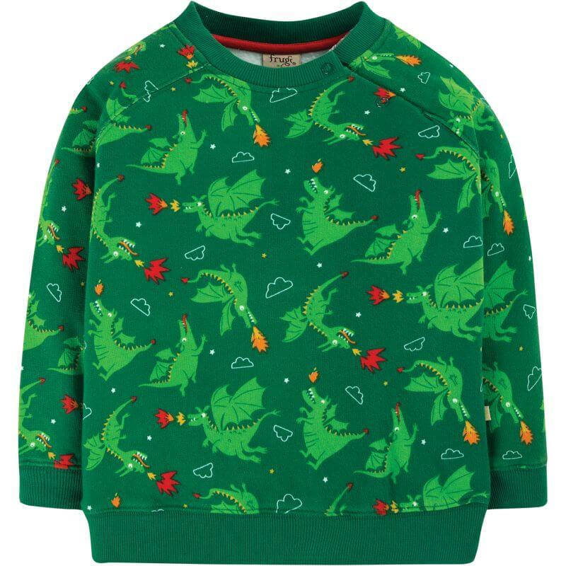 Grüner Jungs-Pullover mit coolen Drachen